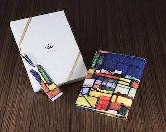 Leather book cover with unique design. Designed by Kiyoshi Yaegashi from Japan.