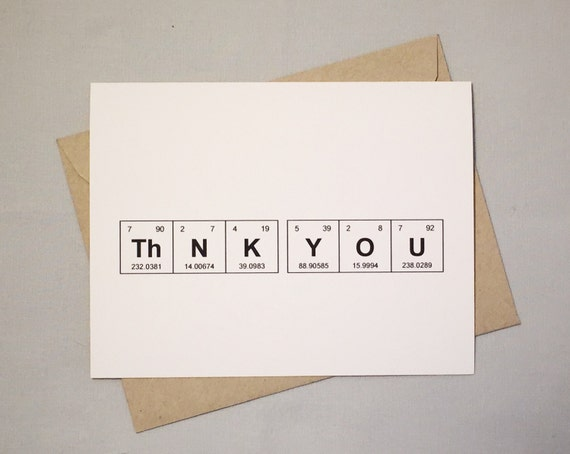 thank you chemistry card set periodic table of the elements thnk you card set of 6 sentimental elements gift for teacher - Periodic Table Of Elements Gifts