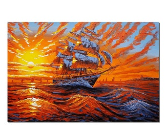 Large Wall Art, Canvas Oil Painting, Sunrise Painting, Canvas Art, Abstract Art, Oil Painting, Ship Painting, Abstract Painting, Large Art