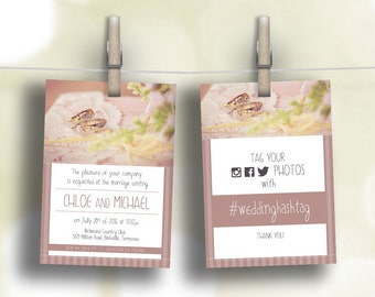 DIY - Printable Wedding Set - Invitation & Branding (Download, Customize and Print)