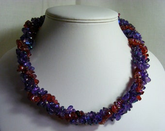 Red and Purple Glass Nugget Twisted Necklace