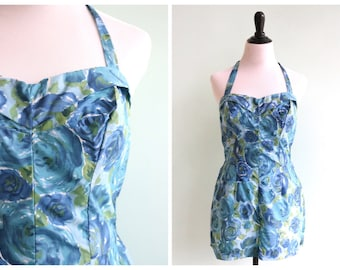Vintage 1960's Blue Rose Playsuit | Size Small
