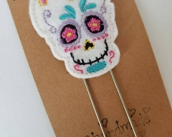 Sugar Skull Feltie Jumbo Bookmark - XL - Planner Clip - Planner Accessory - Small Gift