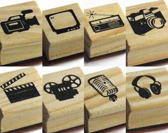 Stamp,  2 x 2 cm Pattern size, Video stamp, TV stamp, Radio stamp, Camera stamp, Movie stamp, Mic stamp, Headphone stamp