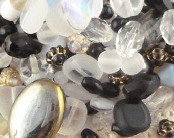 Black and Pink Czech Glass Beads, Assortment, Mix (80+ beads - 60grams) - BM