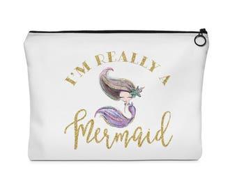 Mermaid Makeup Bag, Makeup Bag, Mermaid Bag, Mermaid, Cosmetic Bag, Mermaid Cosmetic Bag, Mermaid Gift, Toiletry Bag, Mermaid Pouch, Brown