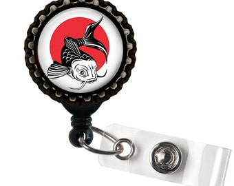 Koi Fish - Black Retractable Badge Reel ID Holder