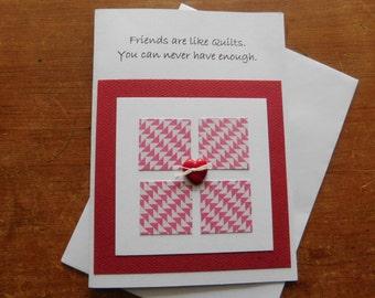 Friend Quilt Greeting Card - friend card - quilting card - friendship card - card for friend