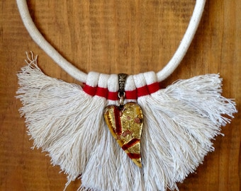 100% Cotton Boho Necklace Frayed with glass accent