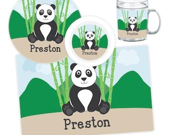 Panda Plate, Bowl, Mug or Placemat - Personalized Plate for Kids - Panda Dinnerware Set - Children Plates - Kids Melamine Plate Set