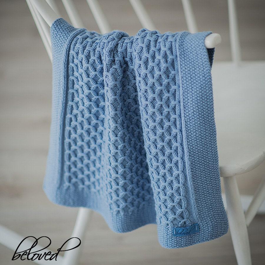 Hand Knit Baby Blanket Knit Newborn Blanket Hand Knitted