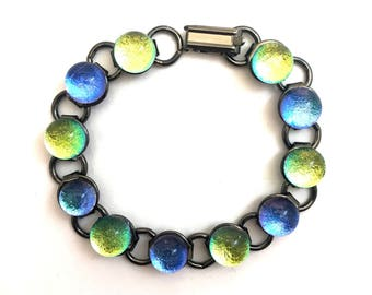 Blue and Gold Sparkle Bracelet with Fused Dichroic Glass