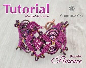 "TUTORIAL PDF Micro-Macrame bracelet ""Florence"" pattern beaded macrame"