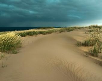 Sand Dunes Photography, Stormy, Sleeping Bear Sand Dune Photo, Leelanau, Traverse City, Michigan, Pure Michigan Photograph