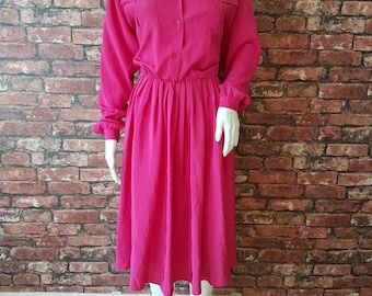 Fuschia Pink Bold Vintage 1980s Argenti Branded Midi Dress. Quirky with Large Collar, Shirt Dress Style