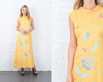 Vintage 70s Yellow Maxi Dress Embroidered Flower Floral Cutout A Line Medium M 11120