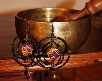 Ethnic earrings, bronze, black and batik