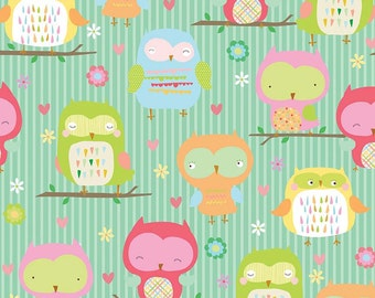 SALE ! > OWLS Teal Flannel  F4940-TEAL > Owl & Co by Riley Blake Designs < Fabric by the yard > Baby Flannel