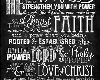 Scripture Art - Ephesians 3:16-19 Chalkboard Style