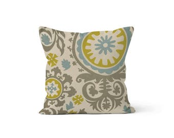Yellow Blue Suzani Pillow Cover Floral - Suzani Summerland Yellow, Blue, Grey - 22, 24, 26 and More Sizes - Zipper Closure- ec246