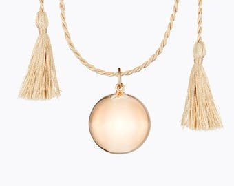 Maternity Necklace - Pink gold plated - Camel Silk Cord