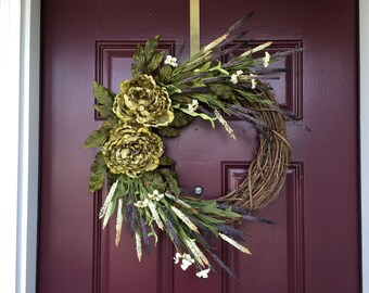 Fall Wreath, Summer Wreath, Front Door Wreath, Peony, Green,  Rustic Wreath, Housewarming Gift, Mothers Day, Grapevine Wreath,