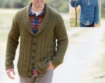 Sirdar Country Style DK Mens & Boys Cardigans Knitting Pattern PDF Download