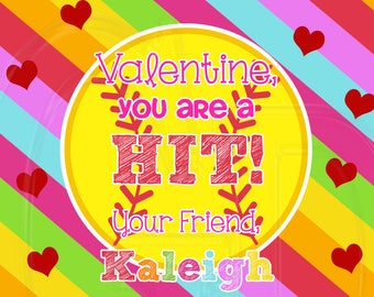 Softball Valentine's Card, valentine softball, sports valentine, sporty valentine- Digital File
