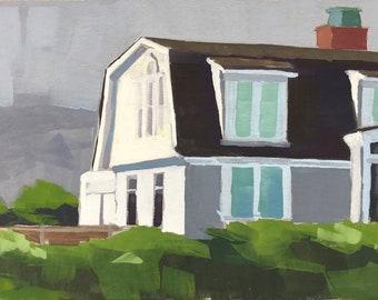 Original Gouache Painting - Padaro Lane Beach House - by Sharon Schock, fits 8x10 frame