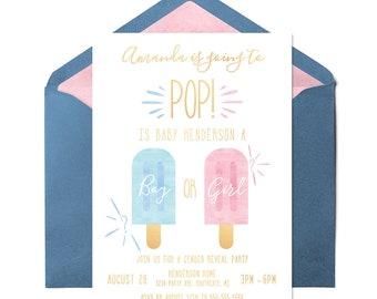 Popsicle Gender Reveal Invitation, Summer Gender Reveal Invitation, Boy or Girl, Gender Reveal Party, Gender Reveal Digital Invitation