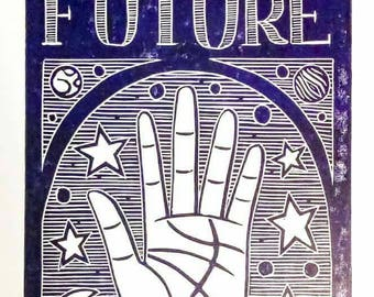 Fortune Teller Palmistry Linoprint Witchcraft Theme