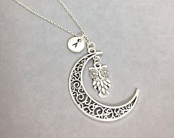 personalized silver Moon necklace, moon charm, celestial necklace, celestial charm,crescent necklace, initial necklace,silver moon,celestial