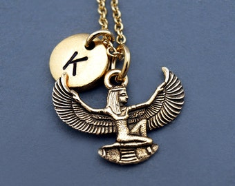 Isis necklace, Egyptian goddess Isis, Gold Isis, Winged Isis, Egyptian theme, Aset, Iset, initial necklace,personalized, monogram