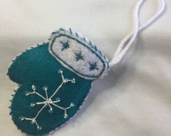 Teal and White Felt Mitten Ornament
