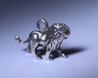 Silver Lion Charm Pendant