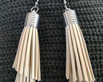 Leather Tassel Drop Earrings