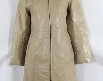 Vintage Sand 100% Real Leather FORMUL@ JOVEN Fitted Knee Length Ladies Women's Coat Size M / UK10 - UK12