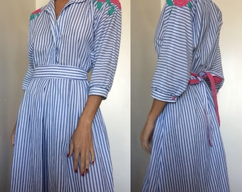 Striped button up dress with embroidered flowers