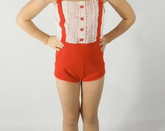 60s Catalina Girl's Swim and Play Suit Red Polka Dots 6x