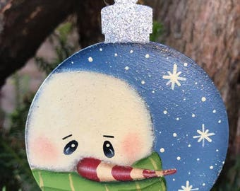 Candycane Snowman Christmas Tree Decoration Keepsake Handpainted Wooden Bauble