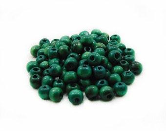 9mm Green Wooden Beads, Green Beads, Wood Beads, 20pcs Wood Beads, Round Beads, Ball Beads, Spacer Beads, Jewelry Making, DIY Craft Supplies