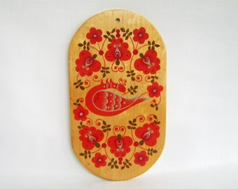 Vintage Wall Plaque, Red Orange Plaque, Bird Plaque, Hand Painted Plaque, Tole Painting, Russia, Russian Folk Art, Floral, Wood Plaque