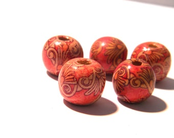 15 wood beads natural - 16 mm - painted wood beads - natural wood - 3 B124