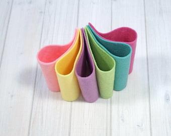 Felt Bundle - Sherbet Collection - Wool Blend Felt Sheets, 9 x 12 inches - Pastels