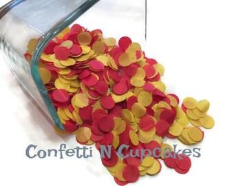 Red wedding confetti, red yellow, tissue paper confetti, wedding reception, bridal shower, save the date, wedding invitations, party confett