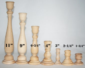 Various Sizes- Unfinished Wood Candlestick Holders- DIY Wedding Accents, Home Decor, Cake Tier Spacer