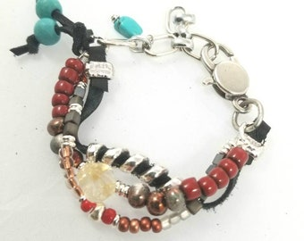 Unisex Multi Strand Leather Bracelet silver beads ceramic beads glass beads red beads turquoise beads copper beads lobster clasp chain