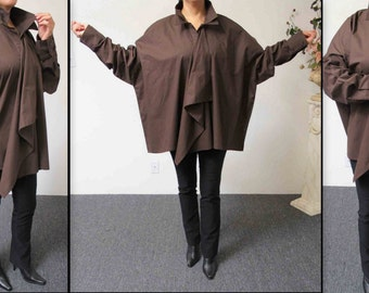 In Style and Designer Oversized Cotton Shirt  Blouse, Plus Size Shirt, Cotton Shirt. Lagenlook Shirt.