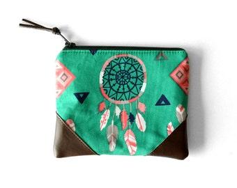 Dreamcatcher Coin Purse, Small Womens Wallet, Green Change Purse, Zipper Wallet Under 30, Boho Gift for Teen, Leather Card Purse, Zip Pouch