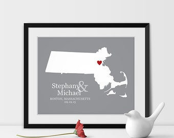 Custom Wedding Gift for Couple Personalized Bridal Shower Gift for Bride Gift for Engagement Gifts for Couple Gift for Husband - Any STATE